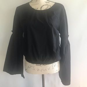 NWT Forever 21 Black Bell Sleeve Top